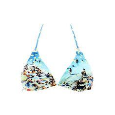 Haut de maillot de bain triangle femme Corsica imprimé bleu de la marque Seafolly
