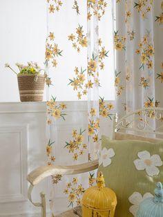 Shop Flower Print Rod Pocket Sheer Curtain at ROMWE, discover more fashion styles online. Teen Room Decor, Room Ideas Bedroom, Bedroom Decor, Yellow Room Decor, Bedroom Curtains, High Curtains, Yellow Rooms, Master Bedroom, Light Bedroom