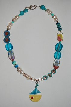 More blues in this 'Sail Away' necklace. Turquoise Necklace, Beaded Necklace, Blues, Jewelry, Design, Jewellery Making, Teal Necklace, Jewerly, Beaded Necklaces