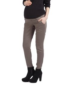 Gray Over-Belly Twill Maternity Pants #zulily #zulilyfinds