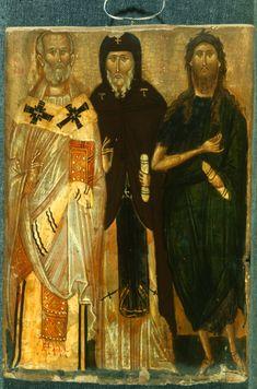 Sts Nicholas Antony and John the Baptist… Byzantine Icons, Byzantine Art, Religious Icons, Religious Art, Small Icons, Russian Icons, Religious Paintings, Best Icons, Orthodox Christianity