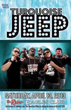 Stellar Spark presents TURQUOISE JEEP Saturday, April 13, 2013 at 8pm (doors open at 7:30pm) The Rave/Eagles Club - Milwaukee WI All Ages / 21+ to Drink  Advance tickets are $16.50 (General Admission) plus fees.