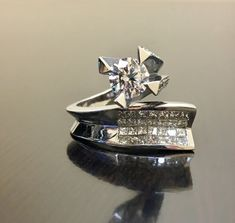 14K White Gold Diamond Engagement Ring  14K Gold by DeKaraDesigns