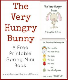 The Very Hungry Bunny Printable Book FREE! Great book for building vocabulary, early reading skills, and more!