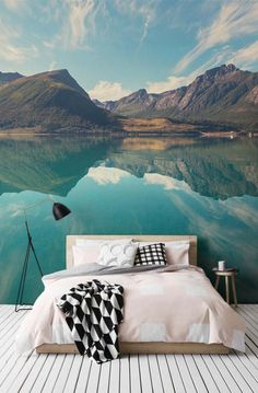 Norwegian fjord mural wallpaper in bedroom // thatscandinavianfeeling.com