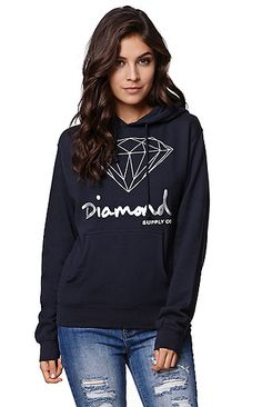 "The women's OG Script Pullover Hoodie by Diamond Supply Co. for PacSun ad PacSun.com features a silver Diamond Supply Co. logo graphic on the front and a pass through pocket. We love the pullover style and hooded back. Pair this hoodie with some fleece joggers and chucks. 23"" length 24"" sleeve length Measured from a size small Model is wearing a small 80% cotton, 20% polyester Machine washable Imported"