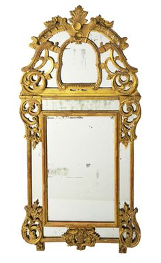 A REGENCE STYLE GILTWOOD RETICULATED FOOTED MIRROR 19th Century