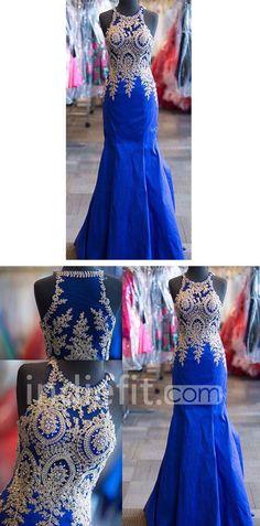 Blue Appliques Mermaid Satin Prom Dresses 2017