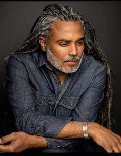 # Braids for men with beard Fine Black Men, Gorgeous Black Men, Handsome Black Men, Beautiful Men, Handsome Man, Dandy, Men With Grey Hair, Grey Hair Black Man, Grey Beards