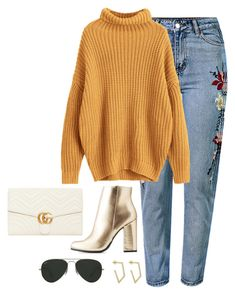 """""""Untitled #4595"""" by magsmccray on Polyvore featuring WithChic, Gucci, Bamboo and Ray-Ban"""