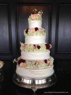 Wedding Cake with Real Cake Blooms of White Hydrangea, White and Blush Roses and Stock, and Merlot Dahlias - The French Bouquet
