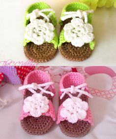 Pink Baby Girl Sandals Crochet handmade baby by TheCCVillage