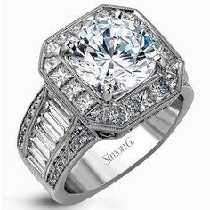 Simon G. 18K White Gold Large Center Halo Diamond Engagement Ring with Round Cut Diamonds, Princess Cut & 1.65 Carats Baguette Diamonds. Style MR2277