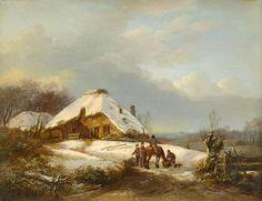 Boerderij in Sneeuwlandschap. Nederlands romantisch winterlandschap