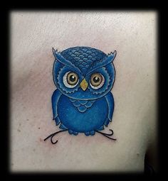 Blue owl tattoo
