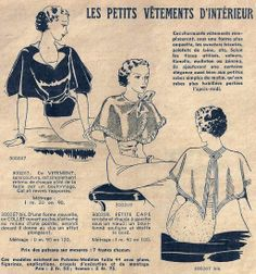 "Le Petit Écho de la Mode - 5 janvier ""Little items for home wear. Retro Pattern, Vintage Sewing Patterns, Clothing Patterns, 1930s Fashion, Vintage Fashion, French Women Style, Jean Délavé, Fur Cape, Vestidos Vintage"