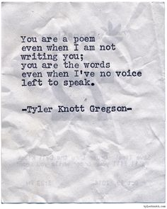 Typewriter Series #992 by Tyler Knott Gregson *It's official, my book, Chasers of the Light, is out! You can order it through Amazon, Barnes...