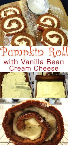 The perfect holiday treat. It's like a Roulade or Swiss Roll made with pumpkin pie spice and vanilla bean cream cheese. Pumpkin Roll with Vanilla Bean Cream Cheese