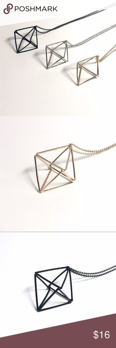 "3D Diamond Geometric Necklace Available in Gold, Silver and Matte Black. Chain is approx 30"". Bundle with any other item to get 20% Off and save on shipping! Jewelry Necklaces"