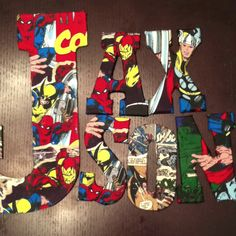 Mod podge superhero letters- I know the perfect little boys for this!!!