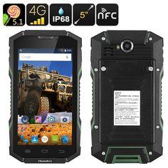 Huadoo HG06 5 Inch HD Rugged 4G Android Phone (IP68 Waterproof, 2 IMEI, 4500mAh, Quad-Core CPU, OTG, NFC, Green)