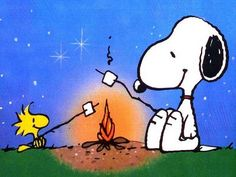Snoopy and Woodstock toasting marshmallows.