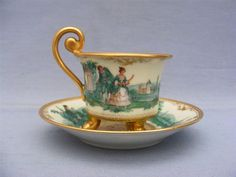 DRESDEN LAMM WATTEAU PAINTED FOOTED CABINET CUP & SAUCER (auction ended)