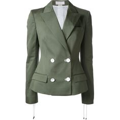 Monse - double-breasted blazer - women - Cotton - 2 (48 725 UAH) ❤ liked on Polyvore featuring outerwear, jackets, blazers, green, olive jacket, olive green blazer, blazer jacket, cotton jacket and army green blazer