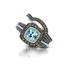 Matching Band for Le Vians Sea Blue Aquamarine Ring- We love the non-traditional engagement rings and wedding bands!