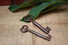 Free Ship  Vintage Iron Keys Set of two  5 in and 4 by Chapter65
