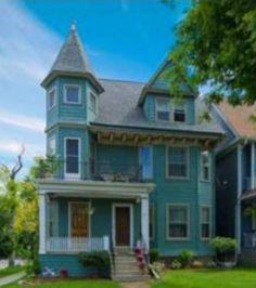 Pretty turquoise house...  @Jessica Glasgow