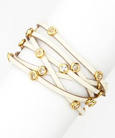 Another great find on #zulily! White & Gold Leather Sparkle Wrap Bracelet by R U S H By DENIS & CHARLES #zulilyfinds