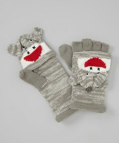 these would be cute peeking out of the sock,,,Sock Monkey Convertible Mittens;$7.99, zulily.com