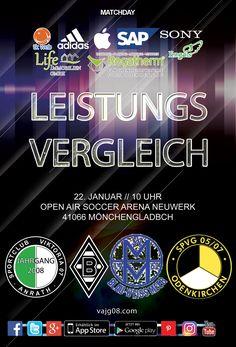Wir nehmen am Sonntag, den 22. Januar um 10 Uhr in der Open Air Soccer ARENA in Neuwerk am Leistungsvergleich mit Borussia Mönchengladbach, SpVg Odenkirchen und Blau-Weiß Meer teil. Erfahre mehr über uns unter vajg08.com.