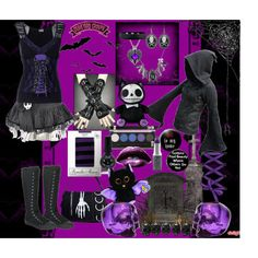 I probably wouldn't wear all of it at once, as it would be a black-and-purple overload, but I would wear one or two elements at a time...