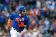 Lucas Duda #21 of the New York Mets rounds the bases after hitting a two-run home run in the third inning against the Miami Marlins at Citi Field on July 11, 2014 in the Flushing neighborhood of the Queens borough of New York City.