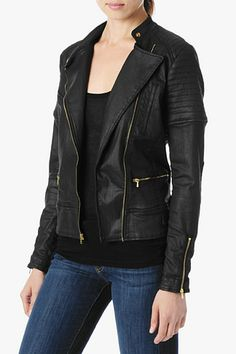 7 For All Mankind, Moto Jacket in Black Jeather, blkjeather, Womens : Jackets & Blazers, AU4103215A