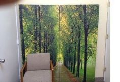 "This screen is used in a therapist office which creates a soothing effect for clients.  ""Path of Life"" in 4 panels"