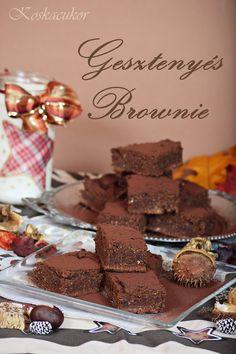 Koskacukor: Gesztenyés brownie (gluténmentes) Desserts, Food, Tailgate Desserts, Deserts, Essen, Postres, Meals, Dessert, Yemek
