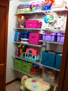 What a difference new shelving makes when organizing a toy closet!