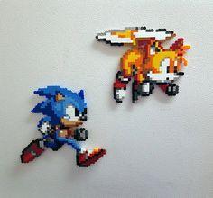 Sonic perler beads Tails bead sprite 8 bit pixel art by PerlPop