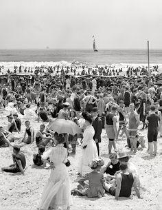 Love old beach pictures! Vintage found photo summer seaside bathing suits summer tea dress white parasol 00s 10s teens era fashion style