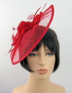 Red Sinamay Large Gathered Tear Drop Shaped Hair Fascinator on Headband EBFAS-008 £28 plus pp
