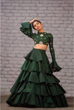 New Lehenga Colour Bored of seeing the same old lehenga colors? Check out these 2 New Lehenga Colours that are amazing. New Lehenga, Indian Lehenga, Green Lehenga, Black Lehenga, Lehenga Choli, Anarkali, Indian Wedding Outfits, Indian Outfits, Bollywood