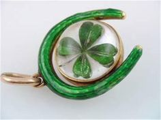 RARE Antique Art Nouveau 14k Gold Enamel Lucky Irish 4 Leaf Clover Ball Charm
