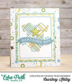 card for little boys - onesie - echopark paper - baby boy kid card - Courtney Kelley Handsome Boy Card Photo 1