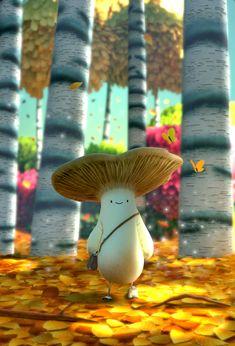 Art And Illustration, Fantasy Kunst, Fantasy Art, Pretty Art, Cute Art, Mushroom Art, Cute Creatures, Creature Design, Aesthetic Art