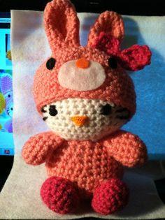 crochet hello kitty in bunny costume