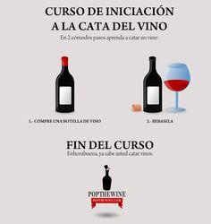 Nuestro curso de iniciación a la cata de vino en dos sencillos pasos... 100% garantizado.