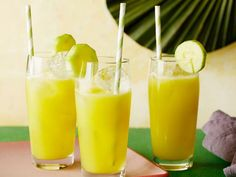 Get Cucumber Pineapple Tequila Cooler Recipe from Food Network Summer Drink Recipes, Summer Drinks, Cocktail Drinks, Fun Drinks, Healthy Drinks, Cocktail Recipes, Beverages, Water Recipes, Summer Fruit